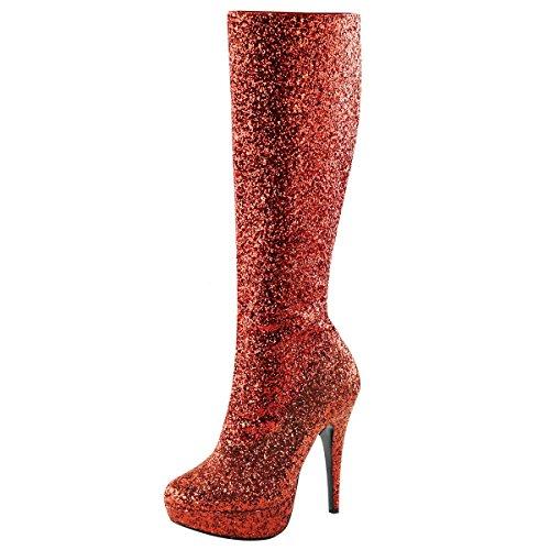 Heels-Perfect - Botas de Material Sintético para mujer Rojo - rojo (rojo)
