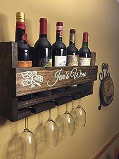 custom name wine rack engraved carved custom rustic 4 bottle wall mount wine rack with