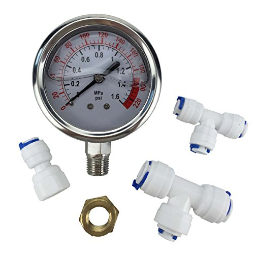 Malida The Water Filter Water Stainless Pressure Gauge For Aquarium Meter 0-1.6MPa 0-220psi Reverse Osmosis System Pump With 3/8