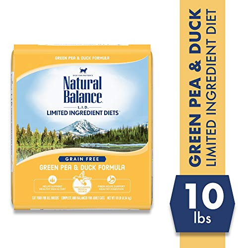 Natural Balance L.I.D. Limited Ingredient Diets Dry Cat Food, Green Pea & Duck Formula, 10 Pounds, Grain Free
