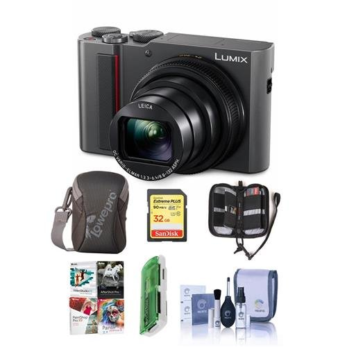 Panasonic Lumix DMC-ZS200 Digital Point & Shoot Camera, Silver – Bundle with 32GB SDHC U3 Card, Camera Case, Cleaning Kit, Memory Wallet, Card Reader, PC Software Package