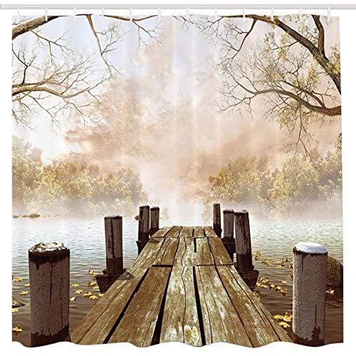 BROSHAN Polyester Shower Curtain Wooden Bridge, Fall Foggy Trees Lake River Country Scene Bathroom Decor Nature Fabric Waterproof Shower Curtain with Hooks, Brown Beige Yellow Kahaki