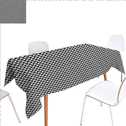 Rectangular Tablecloth Two Toned Triangles Forming Squares Contemporary Contrast Abstract Motif Oblong Wrinkle Resistant Tablecloth 50