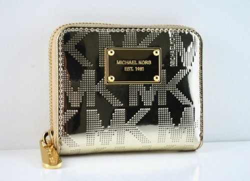 Michael Kors Item Zip Around Signature Mirror Metallic Bi...