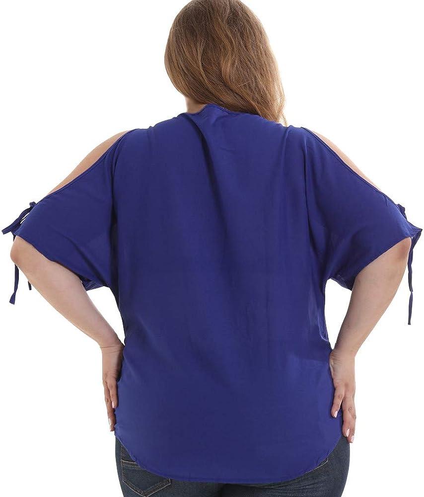Camisetas Mujer Talla Grandes, Lunule Camiseta de Manga Corta Mujer sin Hombros a Rayas Blusas de Gasa Camisas Tops Mujer Verano: Amazon.es: Ropa y accesorios