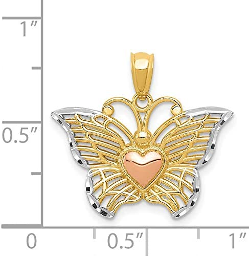 14k Yellow Gold 3D Butterfly With Rose Color Heart And Rhodium Wing Borders Pendant 19x21mm