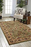 Nourison India House (IH18) Green Rectangle Area Rug, 3-Feet 6-Inches by 5-Feet 6-Inches (3'6'' x 5'6'')