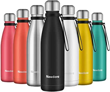 Newdora Insulated Water Bottle 500ml Stainless Steel Water Bottle BPA Free Double-Walled Vacuum Flask for Sports 12 Hours Hot/24 Hours Cold with Cleaning Brush(Black)