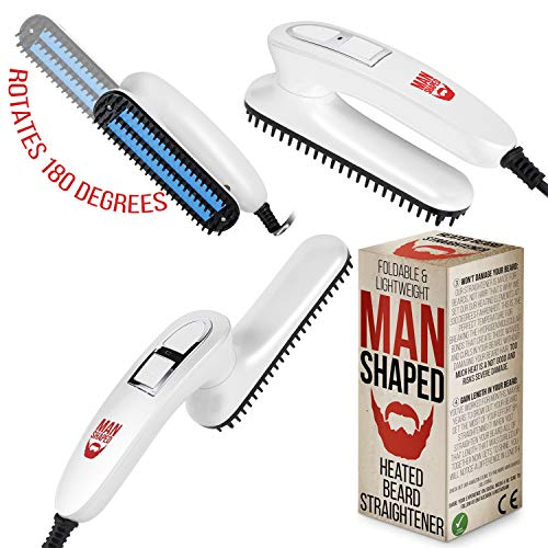 Man Shaped Beard Straightener and Hot Comb, MS-81919, 330 Degrees Fahrenheit | Professional Straightening Comb with Ceramic plates | use as Beard Detangling Comb to Style and Straighten Beards