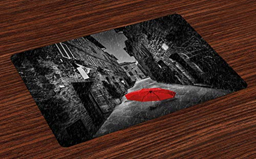 Ambesonne Black and White Place Mats Set of 4, Red Umbrella on a Dark Narrow Street in Tuscany Italy Rainy Winter, Washable Fabric Placemats for Dining Room Kitchen Table Decor, -