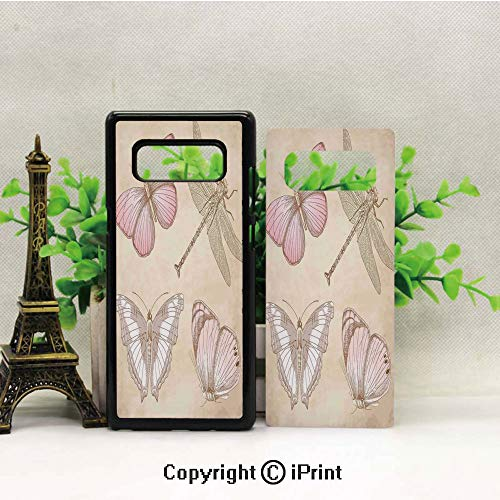 - Cell Phone Case Compatible Samsung Galaxy Note 8,Butterflies Bugs Old Collector Image on Abstract Retro Backdrop Art Heavy Duty Protection Shockproof Slim Fit Case Cover for Samsung Galaxy Note 8 (20