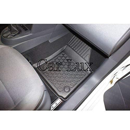 Kit Conjunto de Alfombra y Alfombrillas a Medida Tipo cubeta Exclusiv con Borde Alto para Caddy Desde 2003 Car Lux DUO2549
