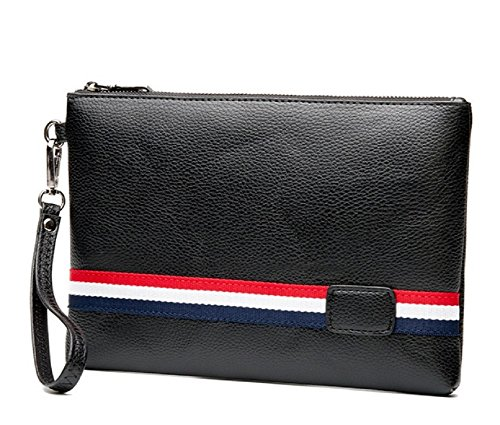 Grosgrain Ribbon Purses - MetaMod Sporty Unisex Clutch Red Blue Stripe Black Vegan Leather