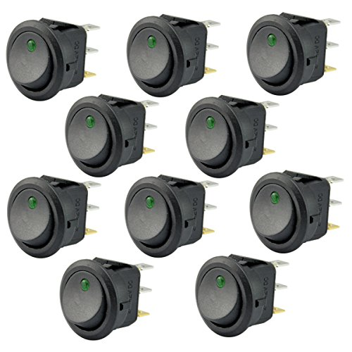 AutoEC 10Pcs New 16A 12V Round Rocker Toggle Switch Green LED SPST For All