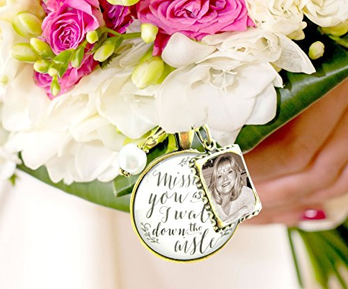 Bouquet Wedding Charm Missing You As I Walk Down Aisle Memorial White Bridal Pendant Remembrance Photo Jewelry