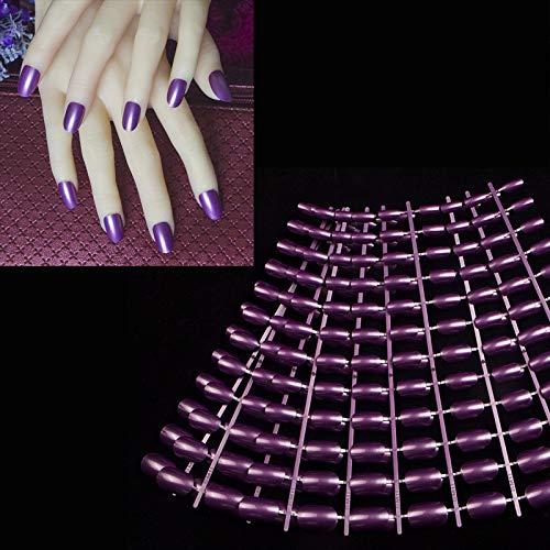 Amazon.com: 240 uñas acrílicas de color morado perla para ...
