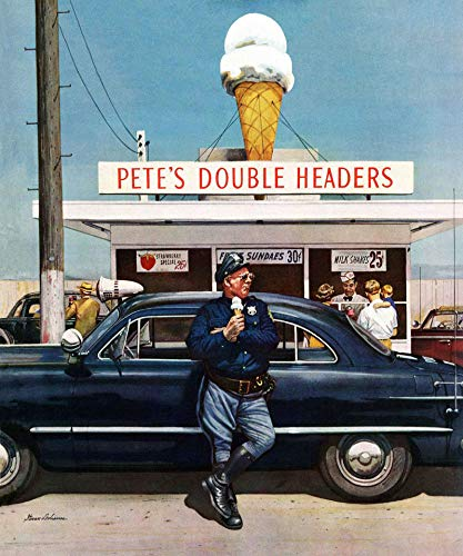 (Marmont Hill 36x30 Pete's Double Headers by Stevan Dohanos Painting Print on Wrapped Canvas, 36
