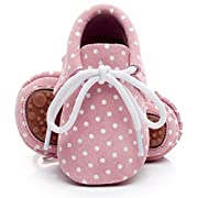 HONGTEYA Leather Baby Moccasins Lace up Rubber Sole Crib Toddler Boots Shoes for Boys and Girls (US6M 12-18Months 13cm 5.12  Toddler, Pink)