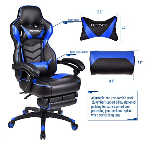 ELECWISH Ergonomic Computer Gaming Chair, PU Leather High Back Office Racing Chairs With Widen Thicken Seat And Retractable Footrest And Lumbar Support, Large, Blue by ELECWISH (Image #4)