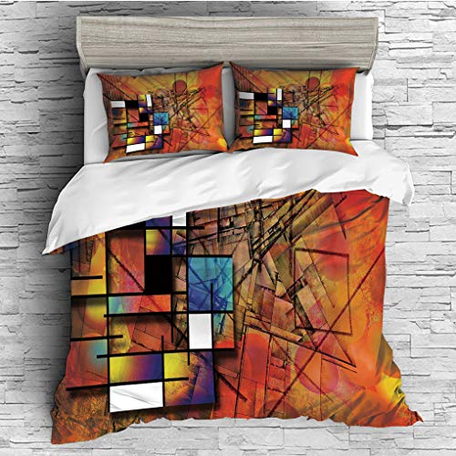 3 Pieces (1 Duvet Cover 2 Pillow Shams)/All Seasons/Home Comforter Bedding Sets Duvet Cover Sets for Adult Kids/Double/Modern Decor,Geometric Unusual Figures with Lines and Circles Triangles and Squar