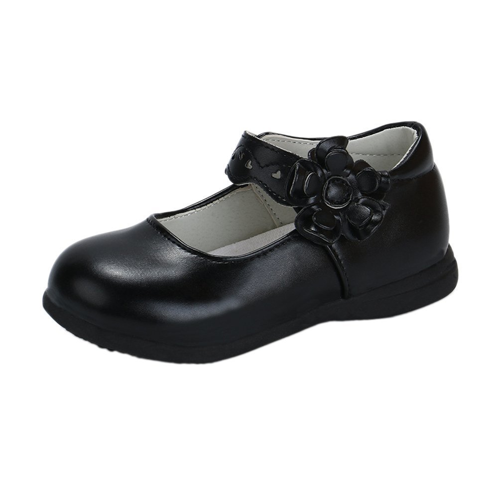 iFANS Girls Leather Shoes Student Flats Kids Casual Shoes Toddler Girls Oxford Princess Dress Dance Party Shoes