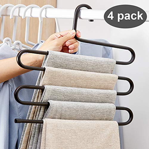 Pants Hanger Multi-Layer S-Style Jeans Trouser Hanger Closet Stainless Steel Rack Space Saver for Tie Scarf Jeans Clothes(4 Pack )