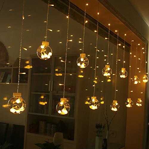 Cortina de luces LED GLURIZ Lámpara lluminación de decoración Luz led 12 Bolas 110V con 8 modelos lluminación de para ventanas fiestas bodas y nav