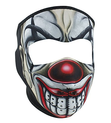 Creepy Scary Circus Clown Red Nose Joker Reversible to Black Neoprene Full Face Mask (Clown Faces Scary)