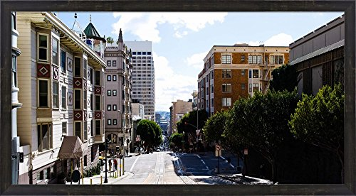Buildings on both sides of a street, Powell Street, San Francisco, California, USA by Panoramic Images Framed Art Print Wall Picture, Espresso Brown Frame, 38 x 21 - Francisco Powell One Street San