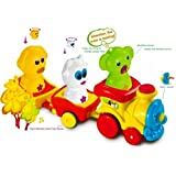 FUNERICA Toy Train Set with Lights and Music - With 3 Animal Dolls, Train Identifies and responds to Dolls, Automatically Moves and Stops - Preschool Train set for Toddlers & Kids