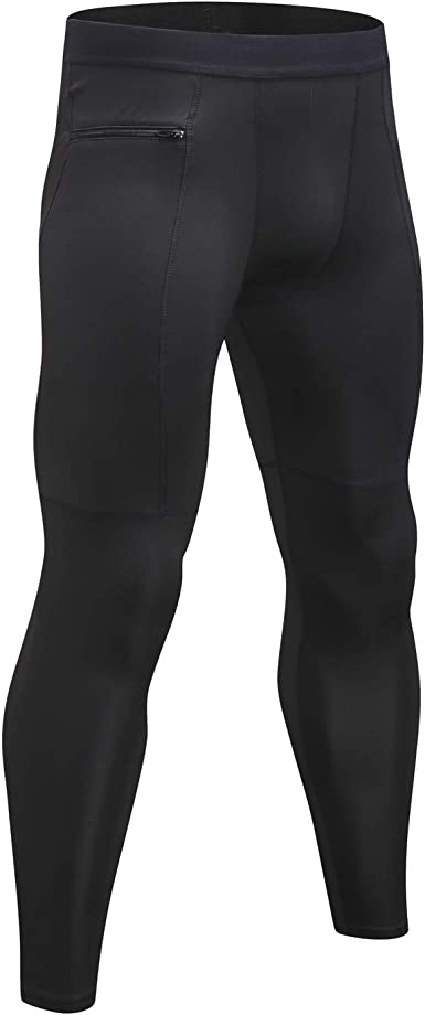 Men/'s Compression Pants Ankle Zipper Running Basketball Sports Legging Cool dry