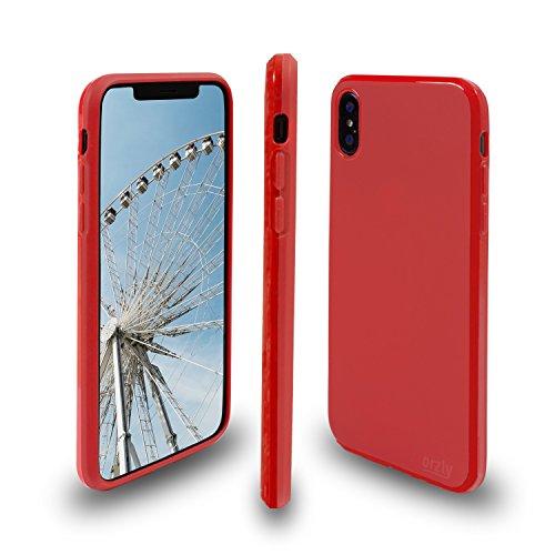 Funda iPhone X NARANJA, Orzly FlexiCase para Apple iPhone X/iPhone 10 (2017 Modelo) - Funda Protectora de Gel Flexible - NARANJA MATE ROJO FlexiCase para iPhone X