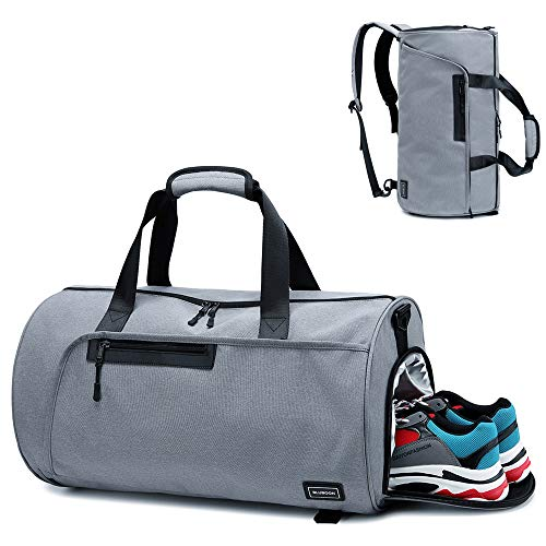 (BLUBOON Sports Gym Duffel Bag With Shoe Compartment For Men and Women Oversized Travel Carry-on Luggage Tote Bag with Trolley Sleeve (Grey))