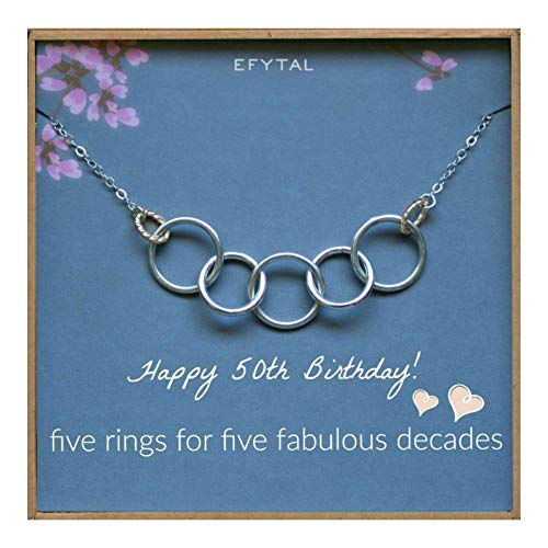EFYTAL Happy 50th Birthday Gifts for Women Necklace, Sterling Silver 5 Rings Five Decades Necklaces Gift Ideas ()