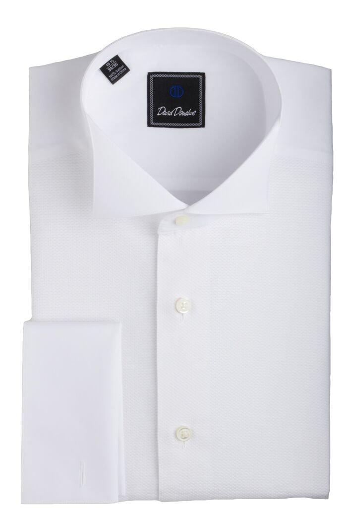 David Donahue Pique Bib Wing Collar Regular Fit Formal Shirt - Size 16.5, 34/35