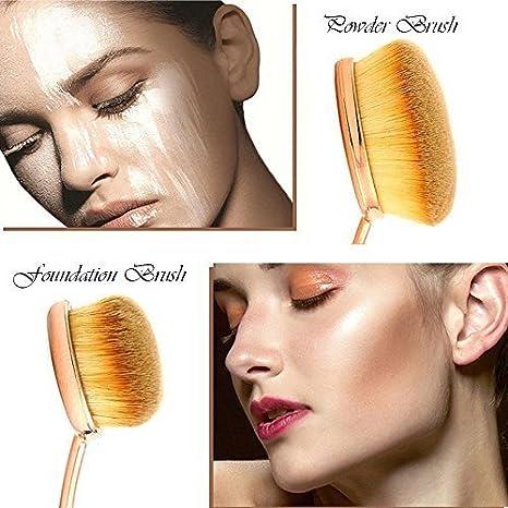 27b3d273c079 Oval Makeup Brush Set of 5 Pcs Professional Oval Toothbrush Foundation  Contour Concealer...
