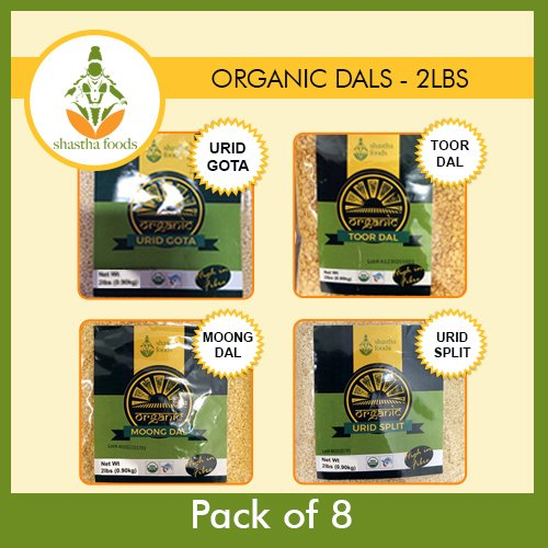 Organic Combo Pack of 8 (Toor, Moong, Urid Gota & Urid Split) Dals USDA Certified Organic by Shastha Foods
