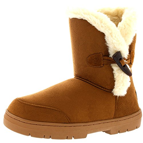 Womens One Toggle Rope Thick Fur Lined Waterproof Winter Snow Rain Boots - Tan - 8 - 39 - (Fur Lined Rain Boots)