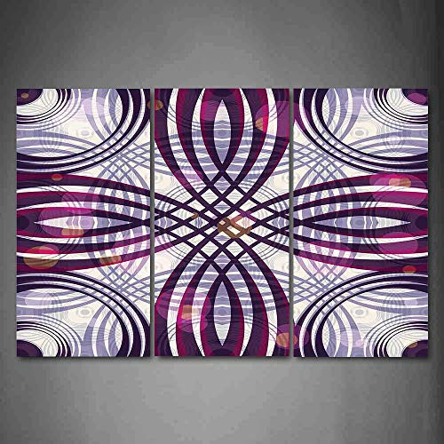 Hanging Wall Art Oil Painting 3 Panel,Art Nouveau 3D Picture Print,Geometric Groovy Curved Trippy Lines Vintage Artful Pattern,Home Decoration Wall Decor Gift,Dark Purple Pale Mauve Magenta ,Indoor/Li ()