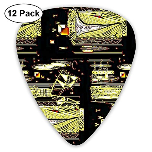 Citron Dragonfly Invaders Classic Celluloid Picks, 12-Pack, For Electric Guitar, Acoustic Guitar, Mandolin, And -