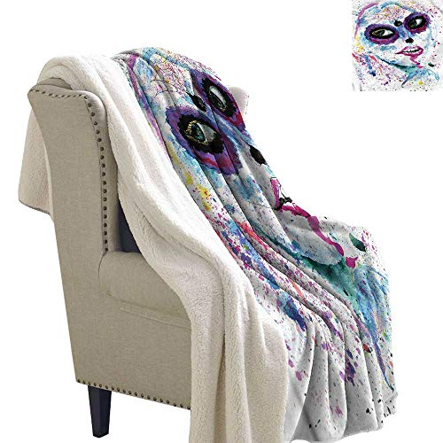 Zodel Cashmere Velvet Girls Halloween Lady Make Up Washable Shaggy Fleece Blanket W59 x L47