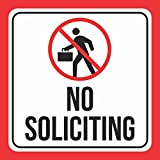Aluminum No Soliciting Print Walking Person Picture White Red Black Notice School Public Business Signs Commerc, 12x12
