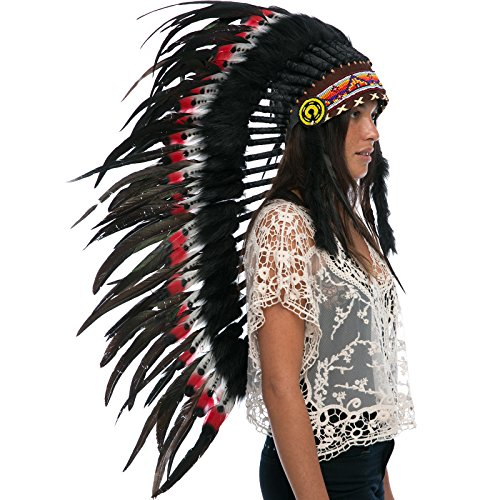 Aztec Costumes For Adults - Long Feather Headdress- Native American Indian