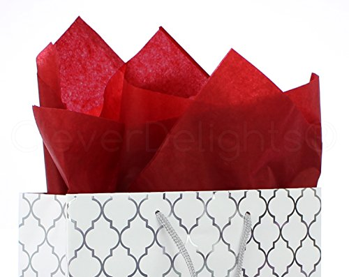 CleverDelights Red Premium Tissue Paper - 100 Sheets - 20