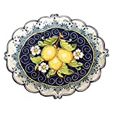 CERAMICHE D'ARTE PARRINI - Italian Ceramic Serving Tray Bowl Plate Art Pottery Hand Painted Lemons Made in ITALY Tuscan