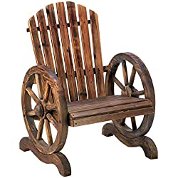 MyEasyShopping Wagon Wheel Adirondack Chair, 1- Wagon Wheel Wood Adirondack-Style Garden Chair, Wagon Wheel Adirondack Chair Wood Style Garden Patio Outdoor Rustic Country Wooden, Yard Furniture
