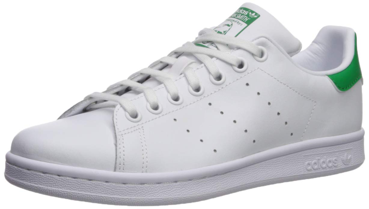 adidas Originals Boys' Stan Smith J Running Shoe, White/Green, 4.5 Medium US Big Kid