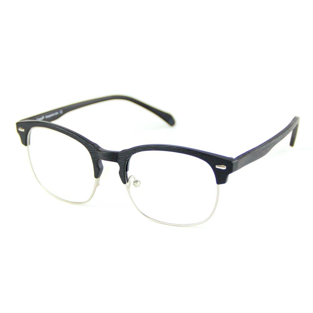 Cyxus Blue Light Blocking TR90 Lightweight Glasses,[Clear Lens] Anti Eye Fatigue Headaches Better Sleep Eyewear (Matte Black Wood Grain Semi-Rim Frame) by Cyxus