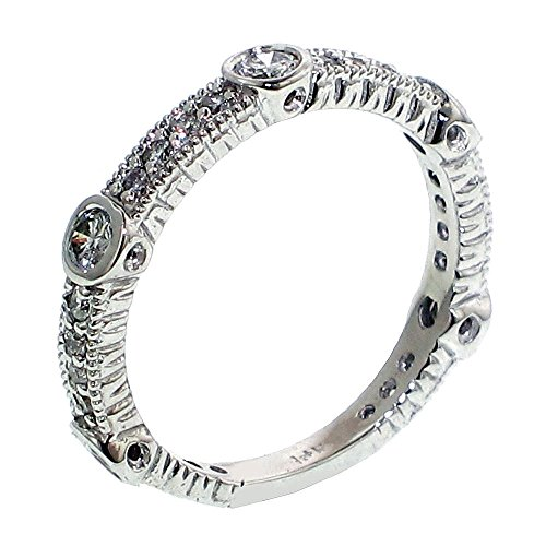 0.64 CT TW Bezel Prong Set Diamond Anniversary Wedding Ring in 14k White Gold - Size 6