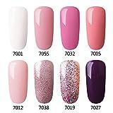 Gel Nail Polish Set Pink Glitter Colors Azure Beauty Soak Off UV LED Gel Polish Kit